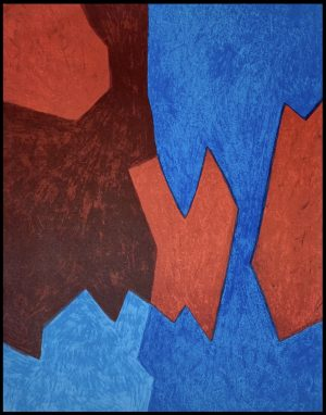 "(alt="" Original lithography; Composition bleue et rouge, 1968 by Poliakoff, printed by Mourlot, Paris - Limited edition, 2000 copies"")"