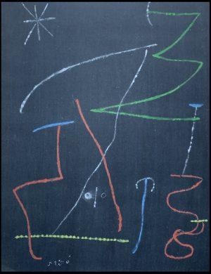 """(alt=""""Pochoir originale , Oiseau dans la nuit par Joan MIRO, 1958 signée dans la planche imprimée par Mourlot. Edition limitée, 2000 exemplaires"""")"""