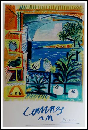 """(alt=""""CANNES AM PICASSO condition A+ signed in the plate Henri Deschamp Lith. Printed by MOURLOT 1961"""")"""