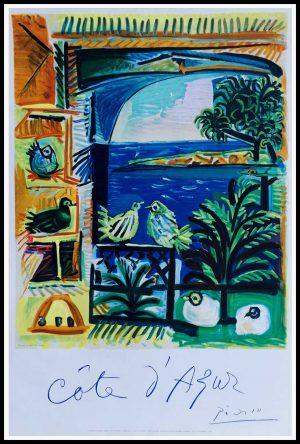 """(alt=""""Cote d azur 100 x 65 cm condition A+ signée dans la planche Pablo PICASSO 1962 Imprimerie MOURLOT"""")"""