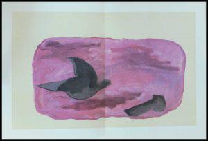 """(alt=""""Georges BRAQUE lithographie 56 x 38 cm pli au milieu comme publié Les oiseaux III non signé Imprimerie ARTE 1967"""")"""