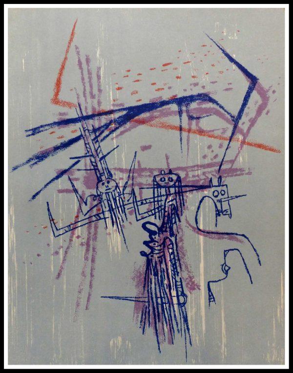 """(alt=""""Lithographie Originale Wilfredo LAM size 31.5 x 24.5 cm 1963 Limited Edition 2000 copies Mourlot"""")"""