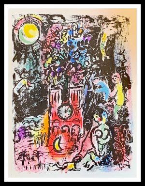 """(alt=""""Lithographie originale Marc CHAGALL 36 x 27 cm Mère et enfant Notre Dame 1962 Imprimerie Mourlot 6000 copies"""")"""