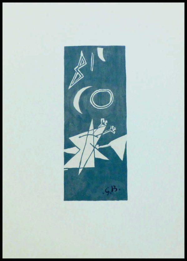 """(alt=""""lithographie, Georges BRAQUE, Ciel gris II, monogrammée, Imprimerie ARTE, 1959"""")"""