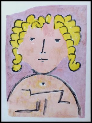 """(alt=""""lithographie Paul KLEE, portrait de jeune fille, lithographie, imprimée par MOURLOT, 1939"""