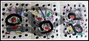 """(alt=""""original lithograph MIRO, oiseau solaire, oiseau lunaire, étincelles, printed by A. Maeght 1967 limited edition"""")"""