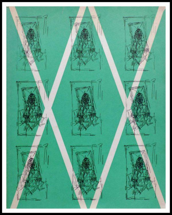 """(alt=""""Lithographie originale GIACOMETTI 31.5 x 24.5 cm Dessin 1956 Edition limitée Imprimerie Union 1500 copies"""")"""