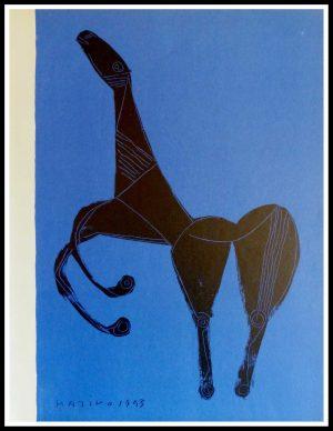 """(alt=""""Lithographie originale Marino Marini 31.5 x 24.5 cm Editions XXème siècle signé et daté 1955"""")"""