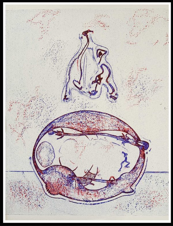 """(alt=""""original lithograph, Max ERNST, Après moi, surrealist lithograph, 1971, printed by Imprimerie CHAVE"""")"""