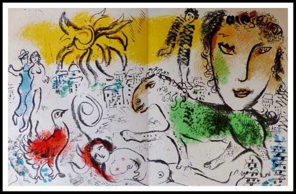 """(alt=""""lithographie originale, Marc CHAGALL, Le cheval vert, Imprimerie MOURLOT 1973"""")"""