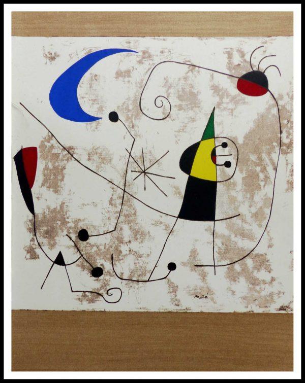 """(alt=""""Pochoir Joan MIRO 31.5 x 24.5 cm Personnages 1957 Imp Daniel Jacomet"""")"""