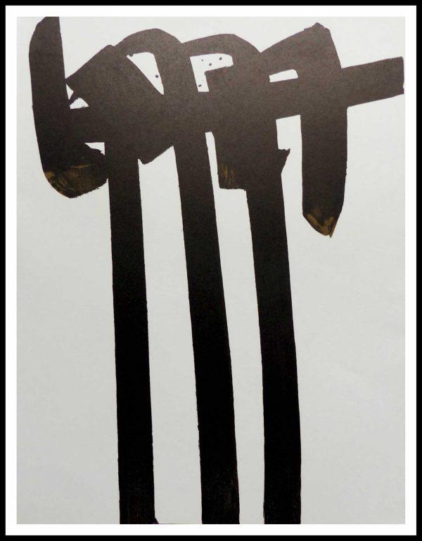 """(alt=""""lithographie originale Pierre SOULAGES 31.5 x 24.5 cm Lithographie N° 29 Imprimerie MOURLOT 1970 Edition limitée 1500 ex"""")"""