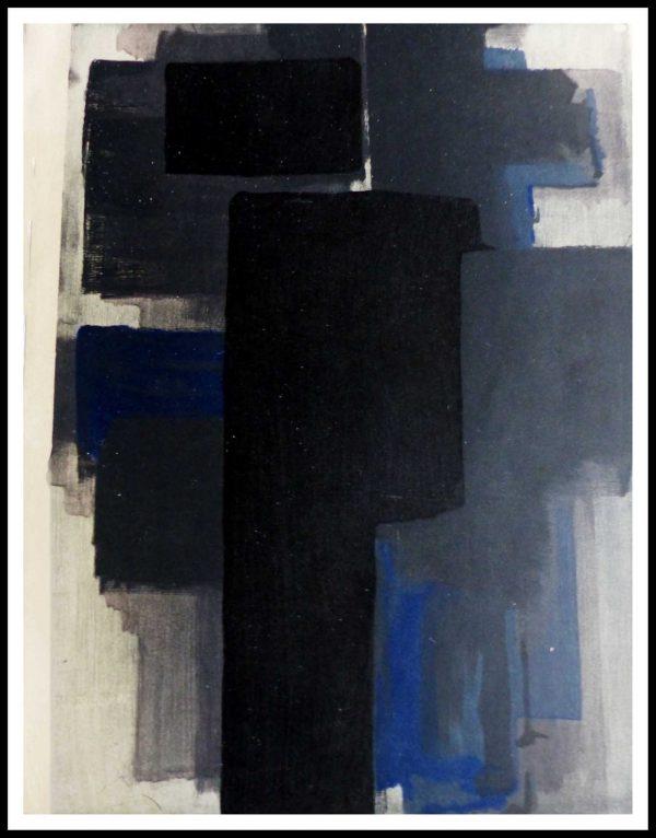 """(alt=""""lithographie originale Pierre SOULAGES 31.5 x 24.5 cm PEINTURE Imprimerie Daniel jacomet1956 issue 1500 copies"""")"""