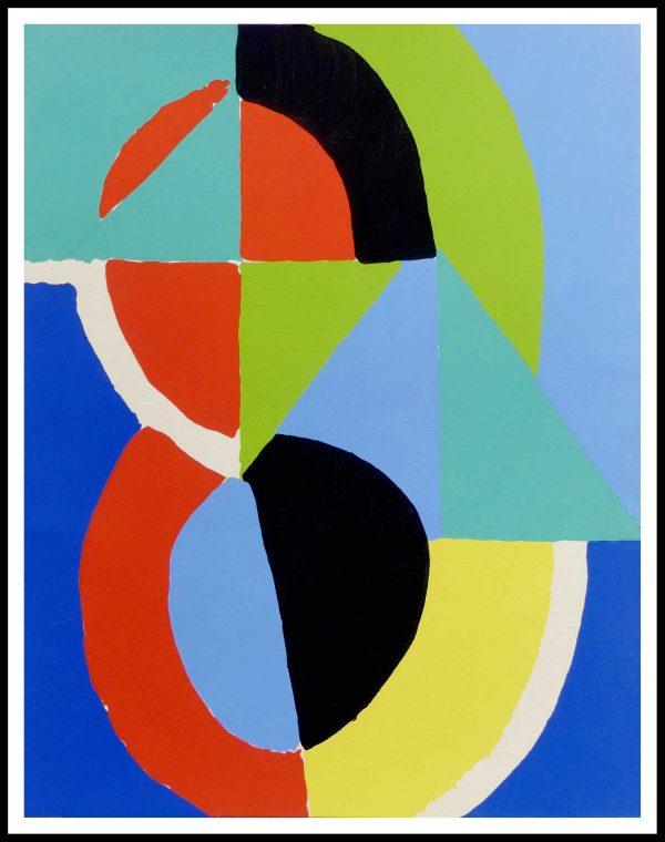 """(alt=""""pochoir original Sonia DELAUNAY 31.5 x 24 cm Rythme de couleurs 1956 Imp. Daniel JACOMET 1500 copies"""")"""